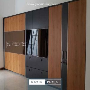 lemari baju sliding 3 fungsi desain minimalis Gavin by Portu id4086
