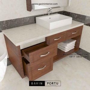 model meja wastafel kayu untuk kamar mandi Gavin by Portu id3616