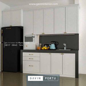 gambar kitchen set semi klasik letter i dengan kabinet kulkas Gavin by Portu id4011