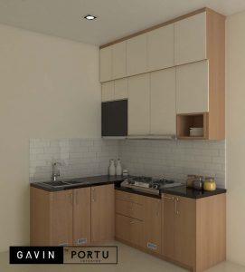 lemari dapur custom minimalis kombinasi warna di Tengerang id3985