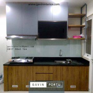 desain lemari dapur sederhana hpl coklat kombinasi grey Gading Serpong id4251