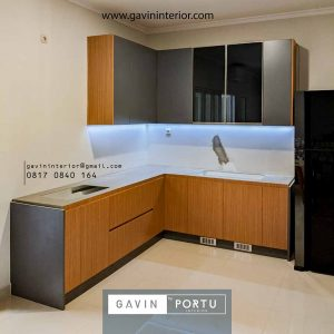 gambar kitchen set model l minimalis finishing hpl coklat kombinasi grey id4312