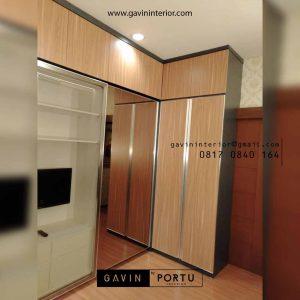 lemari pakaian pintu sliding kombinasi swing finishing hpl di Tebet id4301