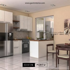 Kitchen set menyatu dengan kabinet kulkas single line & meja island modern minimalis