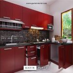 Kitchen set minimalis crimson red