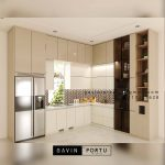 Kitchen set minimalis kombinasi finishing akrilik dan HPL