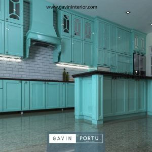 kitchen set klasik lengkap dengan meja island finishing cat duco