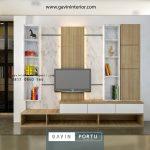 contoh backdrop tv minimalis finishing HPL motif kombinasi