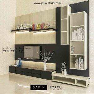 design backdop tv minimalis kombinasi finishing