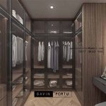 Ide Buat walk in closet Desain Minimalis finishing HPL Kombinasi Kaca