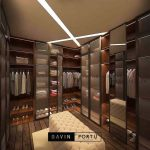 Jual walk in closet finishing HPL kombinasi kaca