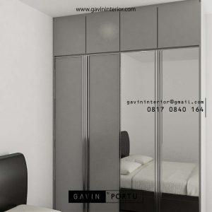 Lemari Pakaian Minimalis Light Grey Apartemen Veranda Residence at Puri Kembangan Id4883PT