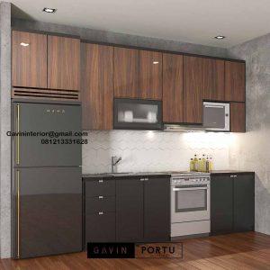 Buat Kitchen Set Warna Grey & Motif Kayu Perumahan Kayu Putih Residence Pulo Gadung Id4832P