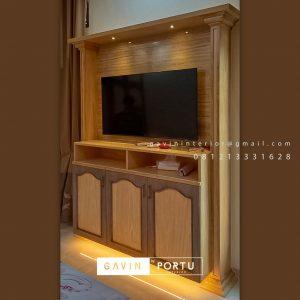 Harga Backdrop TV Semi Klasik Coklat Komplek Graha Alam Indah Kramat Jati Jakarta Timur ID4954P