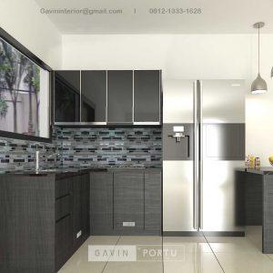 Buat Kitchen Set Minimalis Motif Kayu Hitam Kompleks Elysian Residence Pasar Minggu ID4852P