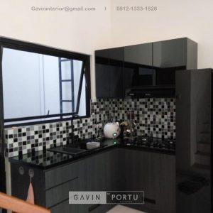 Buat Kitchen Set Minimalis Motif Kayu Hitam Kompleks Elysian Residence Pasar Minggu Jakarta ID4852P