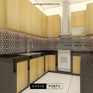 Kitchen Set HPL Motif Kayu Perumahan Griya Loka BSD Serpong Tangerang id5609P