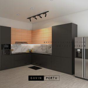 Kitchen Set Minimalis Motif Kayu & Black Perumahan Sunrise Garden Kebon Jeruk Jakarta ID5155P