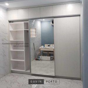 Lemari Pakaian Sliding 3 Pintu Motif Kayu & Kaca Cermin Pejaten Pasar Minggu Jakarta Selatan Id3914